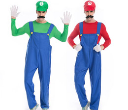 Donne operate tute online-Halloween Costumes unisex Super Mario Luigi Fratelli Idraulico costume tuta Fancy Cosplay Abbigliamento per uomini e donne adulti PS029 all'ingrosso