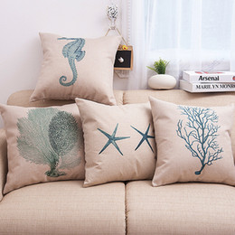 Wholesale Cushion Cover Cores - Hot Sale Pillow Covers Cushions Printed Starfish Sea Grass Hippcocampus Office Sofa Chair Home Textiles Pillowcase Without Pillow Core
