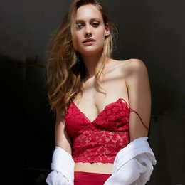 Wholesale Tank Top Flowers - 2017 Bustier Crop Top Hollow Out Sexy Red Lace Flower Women's Bra Cropped Women Party Short Camis Beach Bralette Tank Tops