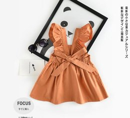 Wholesale girls casual summer dresses - INS styles new arrival Girl dress kids summer sleeveless 100% cotton pumpkin color suspender dress girl casual elegant dress