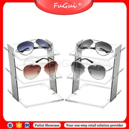 Wholesale Display Show Glass - Glasses Shelves Display Stands Showcase Stainless steel Acrylic YG003S Glossy Transparent Rosy-Gold Show Props Shelf Racks