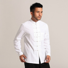Wholesale Chinese Long Sleeve Clothes - White Men Cotton Linen Long Sleeve Kung Fu Shirt Classic Chinese Style Tang Clothing Size S M L XL XXL XXXL Hombre Camisa