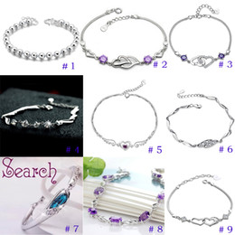 Wholesale Wholesale Jewelry Silver Settings Bracelets - Silver jewelry silver bracelet female guard 1314925 cute simple sterling silver zircon hypoallergenic gift free shipping