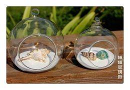 Wholesale Wedding Decorations Hanging Glass Balls - 4Pcs Modern Hanging Clear Round Crystal Glass Vase Flower Balls Terrarium Vases For Wedding Decoration Dia 8 cm