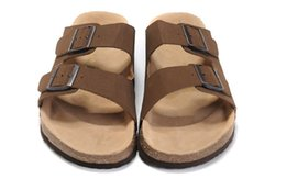 Wholesale Ivory Shoe Ankle Strap - Famous Brand Arizona Men's Flat Sandals Women Casual Shoes Male Buckle Summer Beach Top Quality Genuine Leather Slippers With Orignal Box