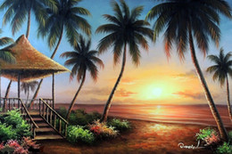 Pintura de panel multi playa online-Enmarcado Hawaii Sunset Beach House Terrace Lanai Palms Sand Pintado a mano Arte marino Pintura al óleo sobre lienzo Multi tamaños, envío gratis J030