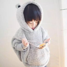 Wholesale Boys Shirt Sweater - Wholesale- Children baby girls bear ears sweatshirts Hooded Fleece cashmere Jacket sweater short Cloak Warm grey Sweatshirt Hooded shirt