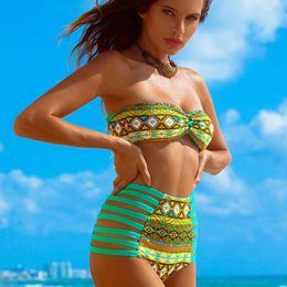Wholesale Vintage Alta - 2017 Bandeau Bikini Women Vintage High Waist Swimsuit Bathing Suit Halter Bikini Pin up Swimwear Brazilian Biquines cintura alta