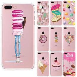 Canada Pour iPhone7 Couverture Souple En Silicium Transparent TPU Coloré Alimentaire Dessert Macarons Cupcake Donut Motif Cas Pour iPhone 4 5 5S 5C SE 6 7 Plus Offre