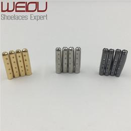Wholesale Wholesale Shoe Laces - Weiou 4pcs 1 set of 3.8x22mm Shoelace Tip Aglet ends Bullet Metal Lock Clips DIY replacement Shoe Lace Silver, Gold, GunBlack wholesales