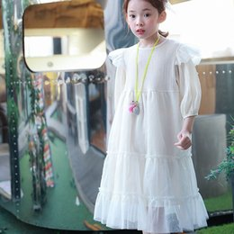 Wholesale Womens Clothing Dress White - Big girls lace gauze princess dress mother and dauther dress womens falbala half sleeve party dress high quality family clothing R0574