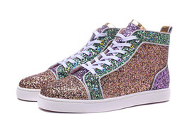 Wholesale Pink Dress Shoes For Men - 2017 New Fashion Sneakers High Top Multicolored Glitter Red Bottom Shoes For Men Women Top Qulity Pink Purple Genuine Leather Dress Shoes