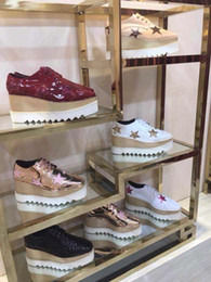 Wholesale size wedge sneakers - Original Quality Stella Silver Shoes With Sequin Star Platform Wedge Fashion Sneakers For Women Size 35-41 100% Real Photos