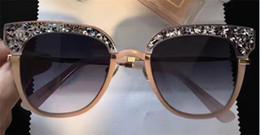 Wholesale Full Half - New fashion ladies designer sunglasses JM MOTE retro square frame half of the crystal sequins summer style uv 400 lens with original box