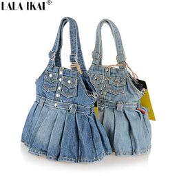 Wholesale Blue Jean Bag - Wholesale-New 2015 Skirt Style Jean Denim Bags Women Messenger Bags Women Shoulder Bags Clutch Free Shipping Women Handbag BWC031