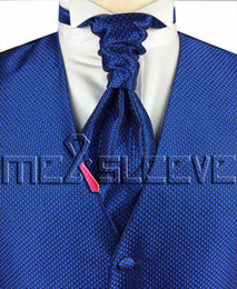 Wholesale Hot Dress Checked - hot sale free shipping small check royal blue simple wedding dress(vest+ascot tie+cufflinks+handkerchief)