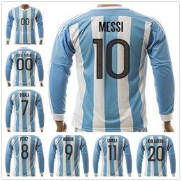 Wholesale Argentina Football Shirt Soccer - Argentina Long Sleeve Football Shirt 10 MESSI DI MARIA KUN AGUERO MARADONA HIGUAIN TEVEZ DYBALA LAVEZZI PEREZ LAMELA PASTORE Soccer Jerseys