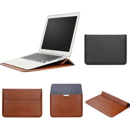Wholesale Leather Laptop Envelope - PU Leather Envelope Sleeve Bag Laptop Cover Stand Case Protective Pouch For Macbook AIR RETINA 11 12 13 15 inch Multifunction Sleeve