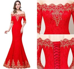 Wholesale Cheap Corset Mermaid Prom Dresses - 2017 New In Stock Cheap Half Sleeves Lace Designer Prom Dresses Off Shoulders Gold Lace Appliques Corset Back Vintage Evening Gowns