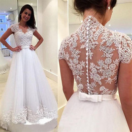 Wholesale Simple Sexy Elegant Red Dress - 2017 New Elegant Bridal Gowns Long A Line Vestido De Noiva Cheap Sexy Tulle Appliques Short Sleeves Sweep Train Wedding Dresses