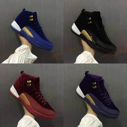 Wholesale Blue Silk Velvet - 2017 With Box Air Retro 12 Royal Blue Black Purple Wine Red Suede Velvet Heiress Basketball Shoes Sneakers for Men Women Outdoor Sports Shoe