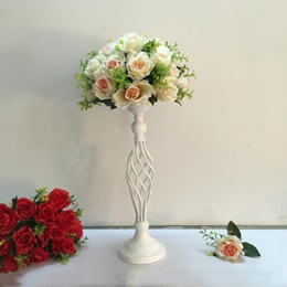 Wholesale Led Bar Table White - Creative Hollow White Candle Holders Wedding Table Road Lead Flower Rack Home And Hotel Vases Decoration 1 Lot = 10 PCS