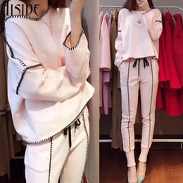 Wholesale Short Pants For Ladies - 2017 Hot Sale Lady Tracksuit Women Sweatshirt +Pant Track suit 2 Piece Set Sporting Suit for women autumn pink suit sets