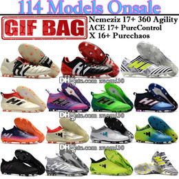 Wholesale Cheap Soccer Shoes Messi - Cheap New Football Boots High Tops ACE 17 Purecontrol X 16 Purechaos FG Messi Nemeziz Soccer Shoes Predator Mania Champagne Soccer Cleats