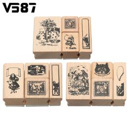 Wholesale Decorative Rubber Stamps Set - Wholesale- 4Pcs Vintage Wooden Alice Blocks Craved Rubber Stamp Box Set DIY Scrapbooking Album Craft Decorative Tools Gadgets Stationery
