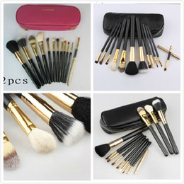 Wholesale Brush Sets Pieces - 10 sets MC Makeup Brush set 12 pieces Professional eye makeup brushes sets Pink Black FREE Shipping with logo