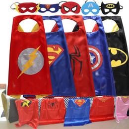 Wholesale Birthdays Kids - DHL Free Shipping 70x70CM 50pcs Kids Superhero Capes Double Sides Satin Fabric Superhero Cape+Mask Kids Birthday Party Supplies Gifts