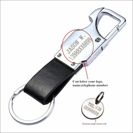 Wholesale Key Ring Pieces - ool keychain QOONG 10 Pieces Custom Lettering Metal Leather Men Key Chain Key Ring Multifunctional Mini Tool Keychain With LED,Bottle Ope...