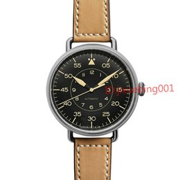Wholesale Vintage Brown Pins - Wholesale-Men's Luxury Stainless Steel Automatic WATCHES Brown Leather Strap Bell BR Through Skeleton MILITARY VINTAGE HERITAGE Men's Watch