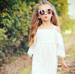 Wholesale Girls Short Natural Pageant Dresses - Lace Girl Clothing Princess Dress Kid Baby Party Wedding Pageant Formal Mini Cute White Dresses Clothes Baby Girls