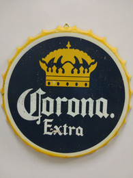 Wholesale Bar Signs Corona - Corona Extra Vintage round tin sign bottle cap design beer cap Beer Metal bar poster metal craft for home bar restaurant coffe shop