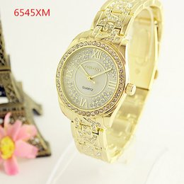 Wholesale Blue Watch Girls - 6545XM Fashion Women Luxury Brand New Geneva Rhinestone Ladies Quartz Watch Gifts Full Stainless Steel wrist watches For Girl