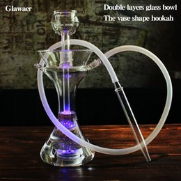 Wholesale flower shape led light - 2017 flower flask shape glass shishas two layers hookah bowl silicone hose LED light base remote controller smoking water pipes glass bongs