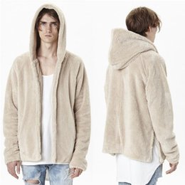 Wholesale Designer Brand Jackets - Fall-2016 New Fashion Oversized Mens Sherpa Hoodie Jackets Famous Brand Designer Clothes Cashmere Coat Fur Collar Open Stich Swag