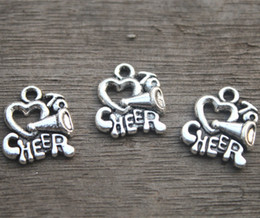 Wholesale Cheerleader Megaphone - 20pcs--I love to cheer charms, Cheerleader Megaphone Charm pendants, Cheer, Cheerleading 16x14mm11