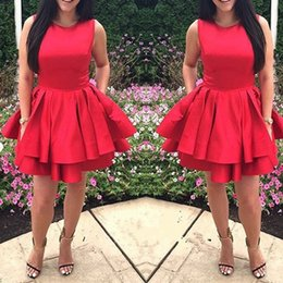 Wholesale Red Line Tires - Newest Scoop Neck Red Homecoming Dresses Cute Satin Tired Mini Short Zipper Back 8th Grade Graduation Party Dresses Vestido De Fiesta