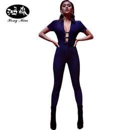 Wholesale Jean Rompers - Wholesale- women jeans sexy jumpsuit Denim Rompers Bandage Hollow sash Front tie up blue jean deep V neck bodysuit skinny Jumpsuits womens