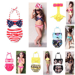 Wholesale Two Piece Swimsuit 4t - New Girl Floral American flag swimwear outfits cotton children Bow Bikinis Swimsuit Baby Clothing 6 colors C2137