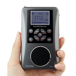 degen rádios portáteis Desconto Atacado-DEGEN DE-28 FM / MW / SW Multibanda de Onda Curta de Rádio Receptor de Rádio de Bolso Portátil Suporte LED Backlit Dot Matrix Y4219A