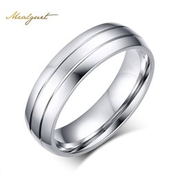 Wholesale 13 Wide - Wholesale- Meaeguet 6mm Wide Fashion Stainless Steel Rings Simple Design Men Wedding Rings USA Size 6-13