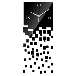Wholesale Luxury Home Decor Wholesale - Wholesale-2016 top fashion home decor wall acrylic clocks modern design luxury real mirror quartz clock 3d crystal watches free shipping
