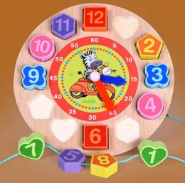 Wholesale Wooden Clock Puzzle - wholesale Kids Wooden Puzzle Toys Cognitive Digital Clock Digital Wooden Watch Jigsaw Toys Cartoon Threading Assembly Toys