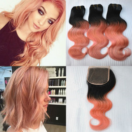 Wholesale Gold Hair Tone - Top Quality 1B Rose Gold Ombre Malaysian Body Wave Two Tone Virgin Human Hair 3 Bundles With 4x4 Lace Top Closure 4Pcs Lot