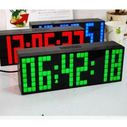 Wholesale Countdown Timer Led Display - NEW LED Clock Display Jumbo Large Digital Wall Alarm Countdown World Clock Blue LED Blue Clocks Timer