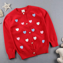 Wholesale Dot Cardigan Girls Baby - 2017 Autumn Winter New Girls Sweaters embroidery Kid warm Cotton Coat Children Clothing Baby Knitted cardigan cute Love Sweater 6 colors