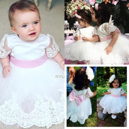 2019 matrimoni perla Lovely Baby Flower Girl Abiti Occasioni speciali per matrimoni Appliqued Kids Pageant Gowns Perle Jewel Neck Tulle Comunione Dress sconti matrimoni perla